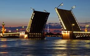 St. Petersburg, Peter, swing bridge, Neva, White Nights, northern capital, Russia, night, river, city, wallpaper