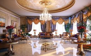 apartment, luxury, chandelier, marble, Penthouse, room, interior, Sofas, table, dear, wallpaper