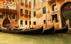 Italy, Venice, water, Gondola, home, window, Flowers