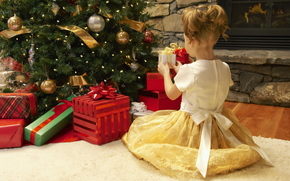 New Year, holiday, Tree, Christmas decorations, Gifts, fireplace, carpet, girl, dress