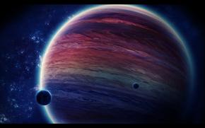 газовый гигант,  планета,  луны,  космос,  звезды