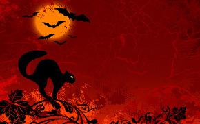 Halloween, disegno, sfondo rosso, gatto, nero, Mouse, ramo
