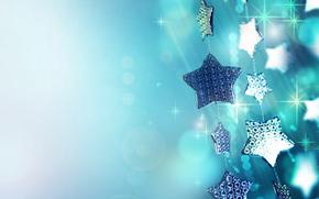 holiday, New Year, stars, Christmas decorations, garland, Blue, shine, Sparks, tinsel, macro