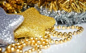 новый год,  праздник,  украшения,  для елки,  золотая,  серебряная,  звезда,  звездочки,  макро,  бусы