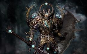 Warrior, armor, sword, shield
