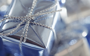 holiday, gift, box, Blue, packaging, wrapper, Silver, pigtail, weaving, bow, node, reflections, macro