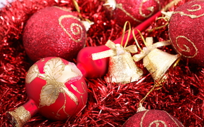 New Year, holiday, red, tinsel, Christmas balls, Gold, Bells, patterns