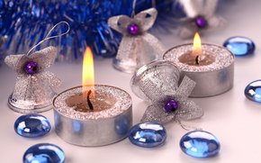 New Year, holiday, Candle, Bells