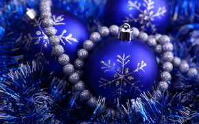 holiday, New Year, Christmas Ball, Beads, blue, silver, brilliant, tinsel, snowflake