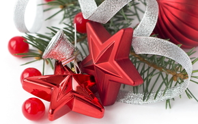 holiday, New Year, red, stars, silver, bell, Christmas decorations, Serpentine, Balls, macro