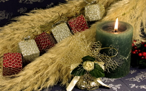 holiday, New Year, candle, fire, flame, Christmas decorations, cubes, shine, bell, green
