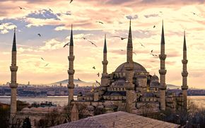город,  стамбул,  турция,  мечеть султанахмет,  панорама