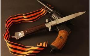 оружие,  выкидуха,  наган,  георгиевская,  лента,  фон