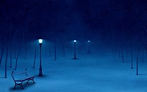 nature, Winter, night, park, lights, bench, snow