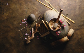 Petals, Sticks, bamboo, root, mortar, pestle