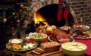 新年, 假期表, 食物, 碗碟, 肉, 壁炉, 枞树, 袜子