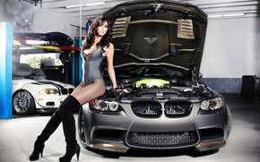 girl, brunette, BMW, Tuning, garage, bmw