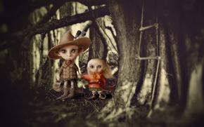 Vampires, children, forest, Art, boy, girl, canines