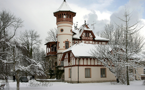 castle, Winter, snow, machine, Trees