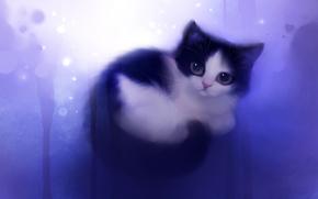 кошка,  котенок,  взгляд,  клубочек,  рисунок,  художник