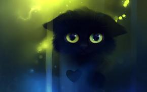 кошка,  котенок,  взгляд,  сердечко,  сердце,  рисунок,  художник