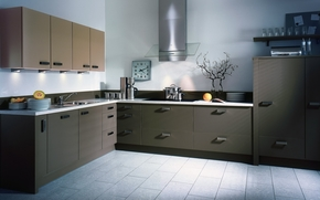 cucina, grigio, stile, ordine, frutta, piatti, guardare