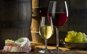 wine, glasses, barrel, grapes, cheese, White, red, tomato, sun, shadow