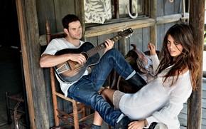девушка,  модель,  парень,  брюнетка,  седло,  хижина,  дом,  гитара,  играет,  обои