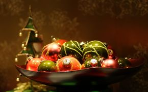 Holidays, New Year, Toys, ball, macro, Christmas decorations