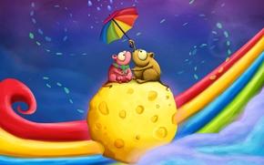 радуга, двое, пара, мышки, зонтик, сыр, свидание