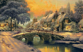 picture, picture, houses, bridge, bridge, small river, Tree, Winter, lights, light in the windows, Pipe, smoke, Christmas, New Year