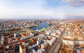 ekaterinburg, panorama, city, Street, Karl Liebknecht, prospectus, lenin, river, Iset, home, bridge, Russia, megalopolis, ural, wallpaper