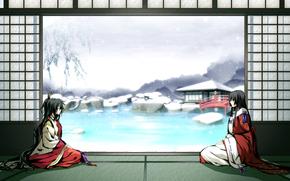 девушки,  кимоно,  пруд,  снег,  зима,  мост