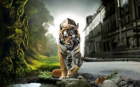 cyborg, tigre, mecanismo, Naturaleza, Ciudad, Pias