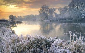 зима, озеро, иней