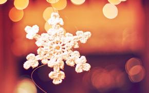 snowflake, macro, lights, bokeh