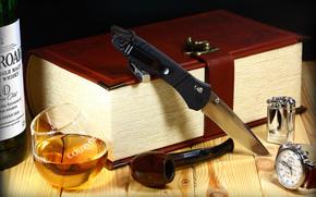 knife, folding, . Whiskey, goblet, tube, lighter, watch, Book-Box