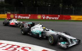 Mercedes, Nico Rosberg, McLaren, Lewis Hamilton, Rennfahrer, Pilot, Rennen, verfolgen, Rotation, kmpfen