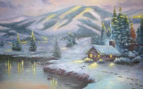 picture, painting, landscape, Winter, Winter, snow, mountain, houses, lake, evening, lights, spruce, Tree