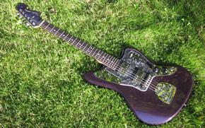 фон,  зелёная,  трава,  гитара,  гриф,  дека,  струны