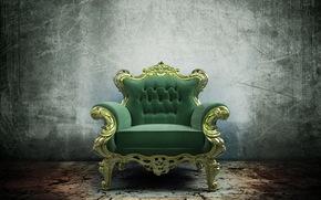 chair, chair, furniture, throne, green, render