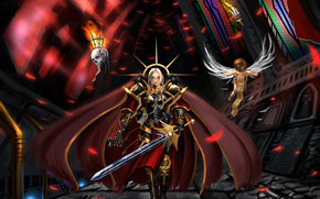varhamer, sister of battle, Adeptus sororitas, sword, Armor, temple, cloak, bolter, servocherep, servitor