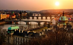 czech republic, Prague, old, city, evening, sunset, architecture