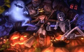 арт,  хэллоуин,  девочка,  ведьма,  кот,  кошка,  тыквы,  шляпа,  голем,  скелет,  приведение,  метла