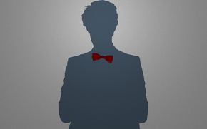 man, minimalism, silhouette, shadow, man, guy, boy, bow, tie, babaochka, red, gray