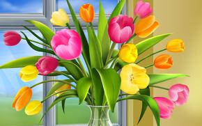 window, vase, tulips
