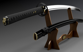 Katana, sheath, pedestal