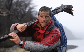 Bear Grylls, survive at any cost, muzhik, dirty, log, rope