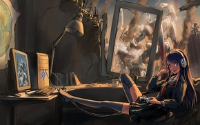 арт,  девушка,  компьютер,  наушники,  джойстик,  меха,  руины,  форма