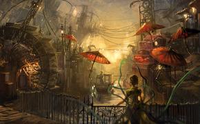 краски, мост, канал, женщина, зонты, гандольер, китайский квартал, водяная мельница, провода